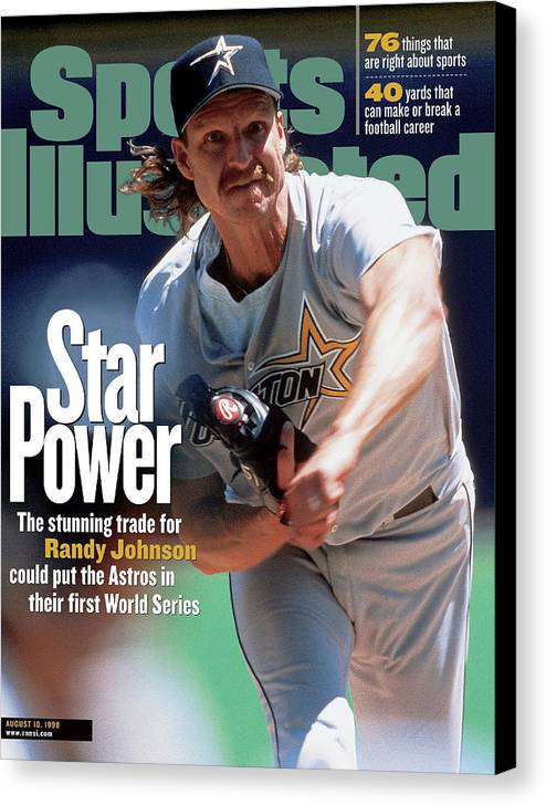 Sports Illustrated Canvas Print featuring the photograph Houston Astros Randy Johnson... Sports Illustrated Cover by Sports Illustrated