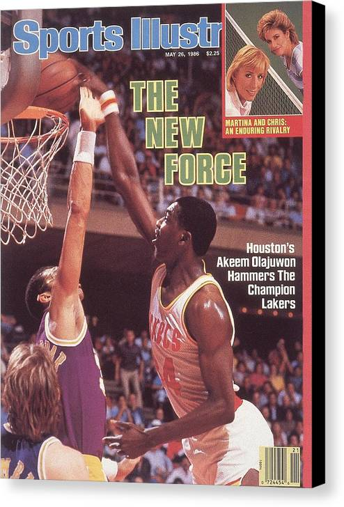 Magazine Cover Canvas Print featuring the photograph Houston Rockets Akeem Olajuwon, 1986 Nba Western Conference Sports Illustrated Cover by Sports Illustrated