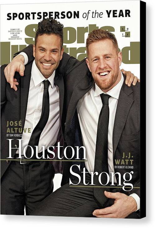 Magazine Cover Canvas Print featuring the photograph Houston Texans J.j. Watt And Houston Astros Jose Altuve Sports Illustrated Cover by Sports Illustrated