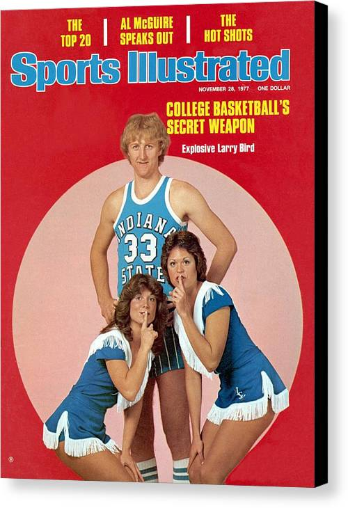 Magazine Cover Canvas Print featuring the photograph Indiana State Larry Bird Sports Illustrated Cover by Sports Illustrated