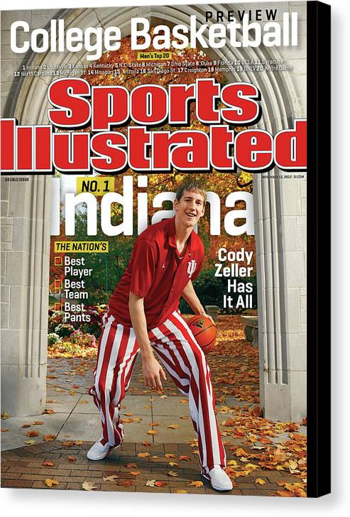Season Canvas Print featuring the photograph Indiana University Cody Zeller, 2012-13 College Basketball Sports Illustrated Cover by Sports Illustrated