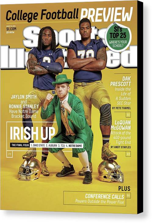 Magazine Cover Canvas Print featuring the photograph Irish Up 2015 College Football Preview Issue Sports Illustrated Cover by Sports Illustrated