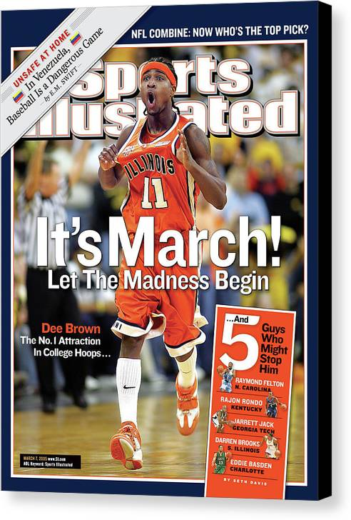 Magazine Cover Canvas Print featuring the photograph Its March Let The Madness Begin Sports Illustrated Cover by Sports Illustrated