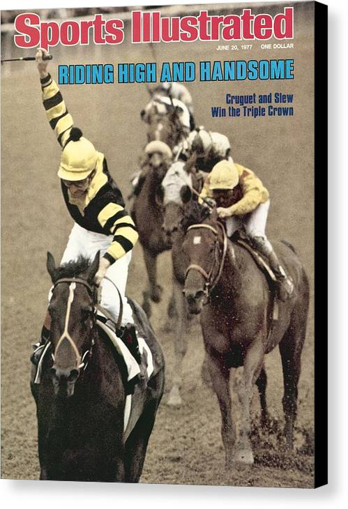 Horse Canvas Print featuring the photograph Jean Cruguet, 1977 Belmont Stakes Sports Illustrated Cover by Sports Illustrated