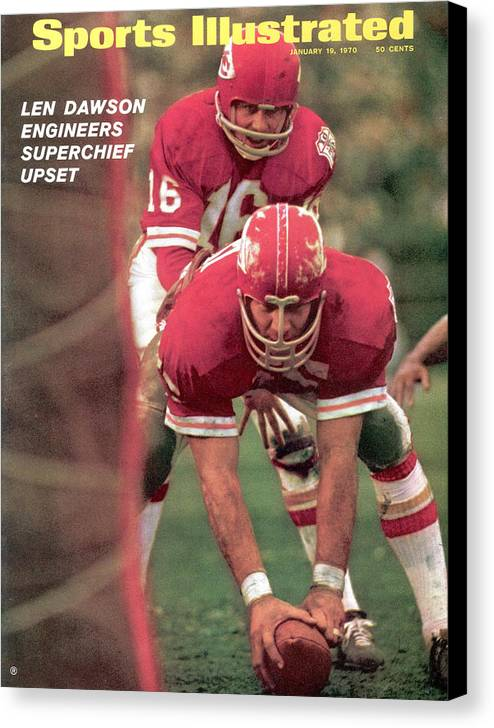 Magazine Cover Canvas Print featuring the photograph Kansas City Chiefs Qb Len Dawson, Super Bowl Iv Sports Illustrated Cover by Sports Illustrated