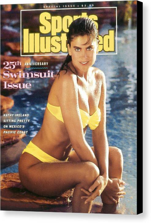 1980-1989 Canvas Print featuring the photograph Kathy Ireland Swimsuit 1989 Sports Illustrated Cover by Sports Illustrated