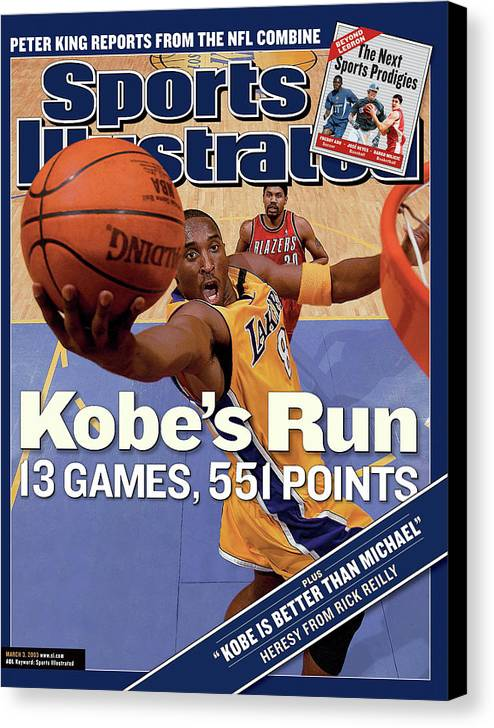 Magazine Cover Canvas Print featuring the photograph Kobes Run 13 Games, 551 Points Sports Illustrated Cover by Sports Illustrated