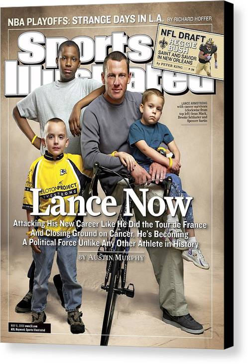 Magazine Cover Canvas Print featuring the photograph Lance Now Attacking His New Career Like He Did The Tour De Sports Illustrated Cover by Sports Illustrated