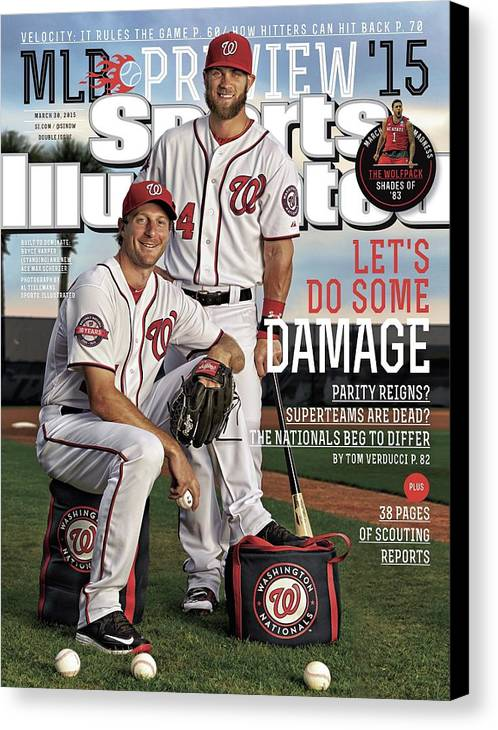 Magazine Cover Canvas Print featuring the photograph Lets Do Some Damage 2015 Mlb Baseball Preview Issue Sports Illustrated Cover by Sports Illustrated