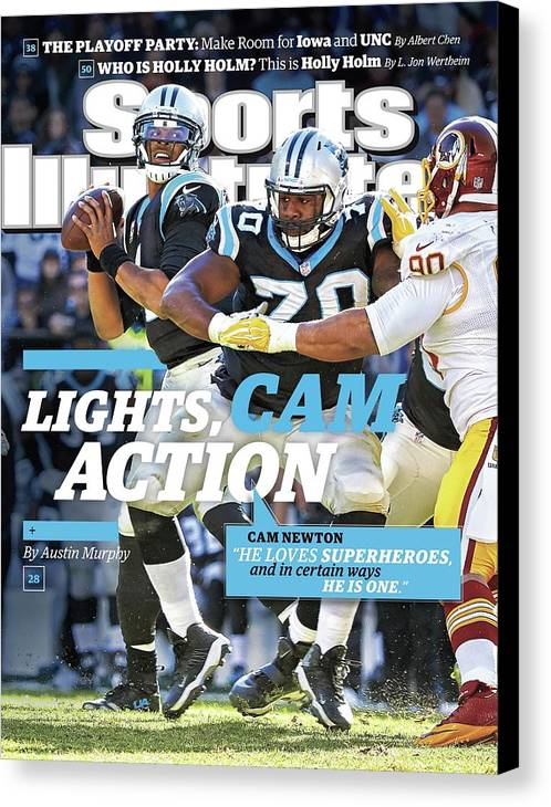 Magazine Cover Canvas Print featuring the photograph Lights, Cam Action Cam Newton Sports Illustrated Cover by Sports Illustrated