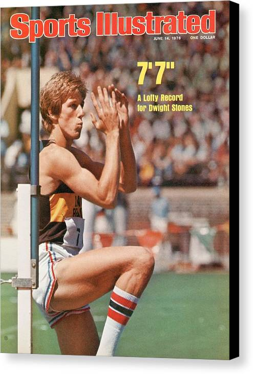 Magazine Cover Canvas Print featuring the photograph Long Beach State Dwight Stones, 1976 Ncaa Championships Sports Illustrated Cover by Sports Illustrated