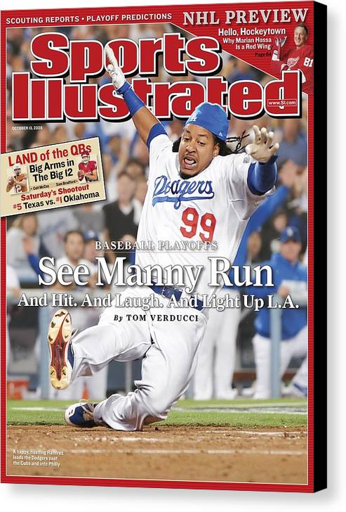 Magazine Cover Canvas Print featuring the photograph Los Angeles Dodgers Manny Ramirez, 2008 Nl Division Series Sports Illustrated Cover by Sports Illustrated
