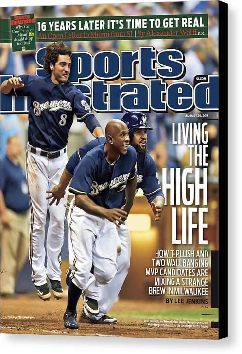 Magazine Cover Canvas Print featuring the photograph Los Angeles Dodgers V Milwaukee Brewers Sports Illustrated Cover by Sports Illustrated