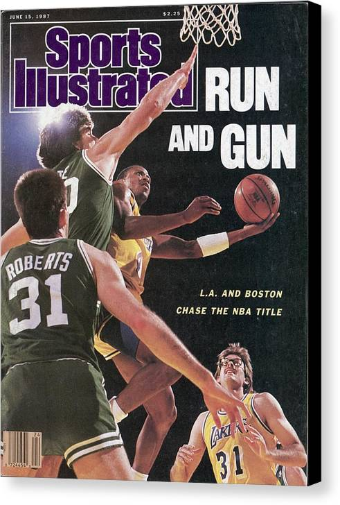 Playoffs Canvas Print featuring the photograph Los Angeles Lakers Byron Scott, 1987 Nba Finals Sports Illustrated Cover by Sports Illustrated