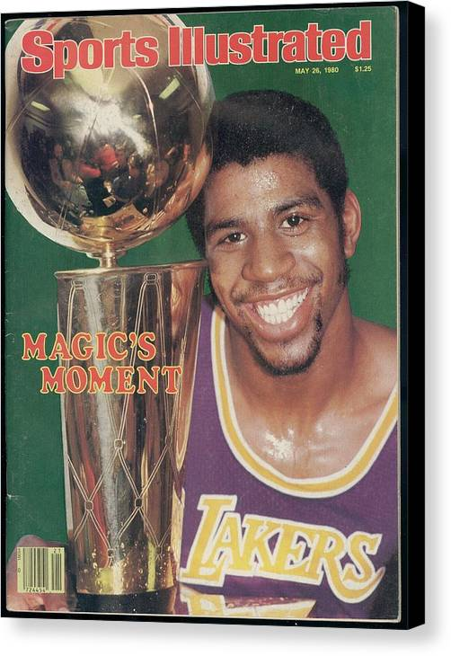 Magazine Cover Canvas Print featuring the photograph Los Angeles Lakers Earvin Magic Johnson, 1980 Nba Finals Sports Illustrated Cover by Sports Illustrated