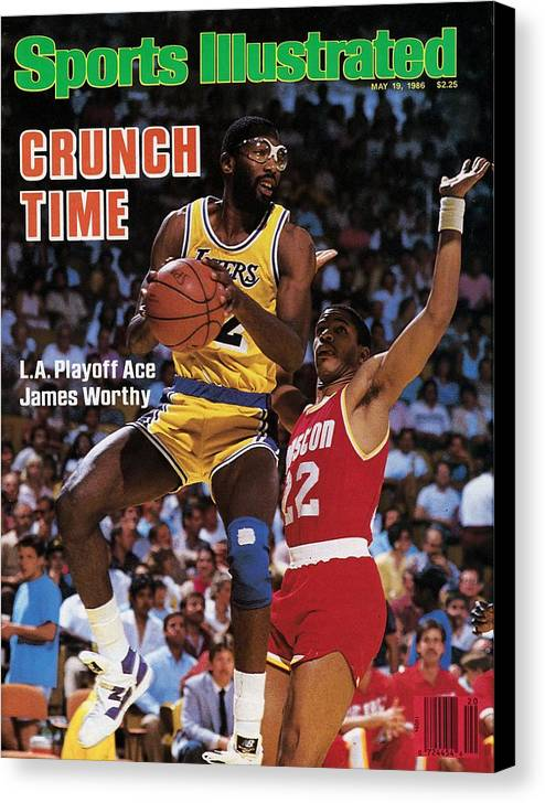 Playoffs Canvas Print featuring the photograph Los Angeles Lakers James Worthy, 1986 Nba Western Sports Illustrated Cover by Sports Illustrated