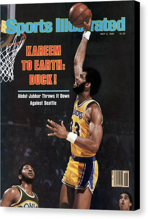 Magazine Cover Canvas Print featuring the photograph Los Angeles Lakers Kareem Abdul-jabbar, 1980 Nba Western Sports Illustrated Cover by Sports Illustrated