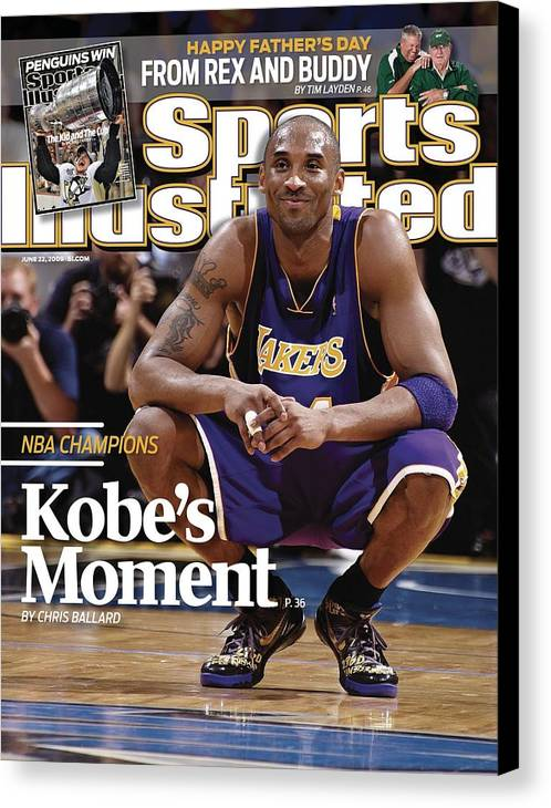 Magazine Cover Canvas Print featuring the photograph Los Angeles Lakers Kobe Bryant, 2009 Nba Finals Sports Illustrated Cover by Sports Illustrated