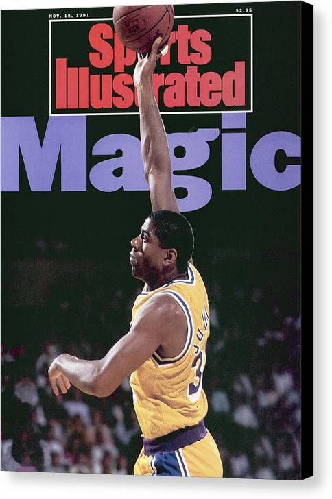 Playoffs Canvas Print featuring the photograph Los Angeles Lakers Magic Johnson, 1990 Nba Western Sports Illustrated Cover by Sports Illustrated