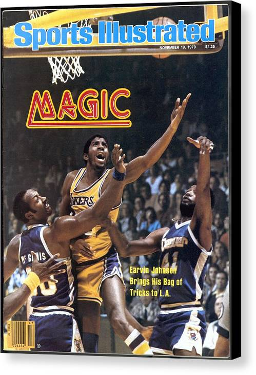Magazine Cover Canvas Print featuring the photograph Los Angeles Lakers Magic Johnson... Sports Illustrated Cover by Sports Illustrated