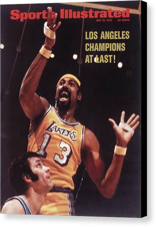 Playoffs Canvas Print featuring the photograph Los Angeles Lakers Wilt Chamberlain, 1972 Nba Finals Sports Illustrated Cover by Sports Illustrated