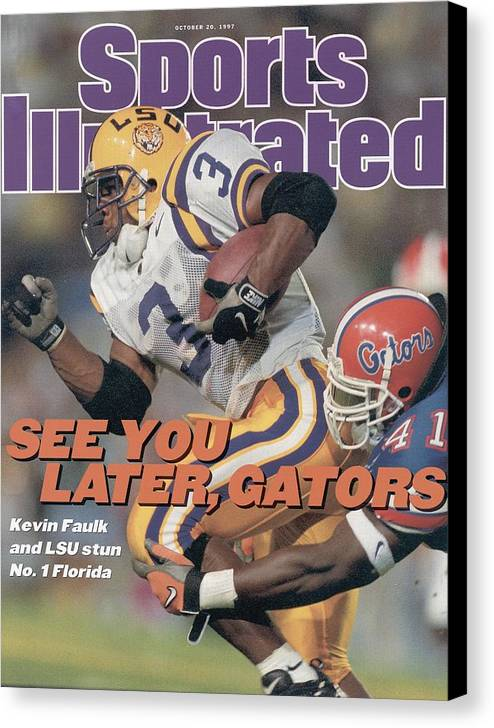 Magazine Cover Canvas Print featuring the photograph Louisiana State University Kevin Faulk Sports Illustrated Cover by Sports Illustrated