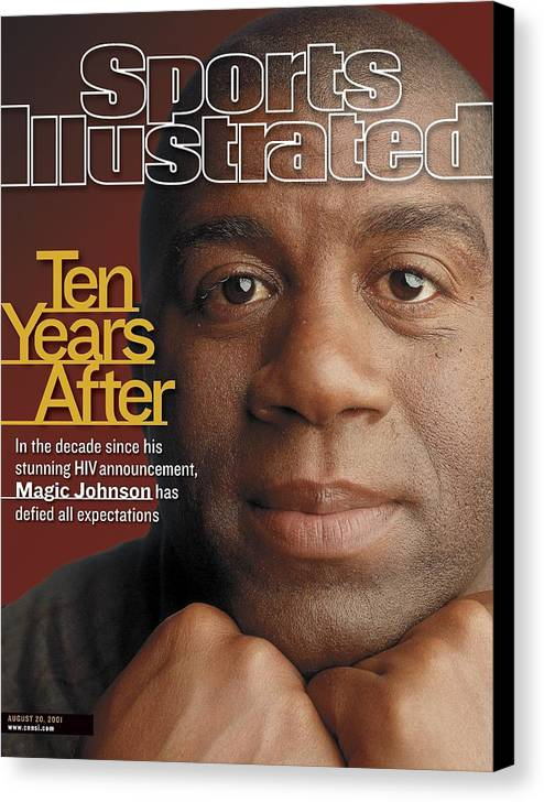 Magazine Cover Canvas Print featuring the photograph Magic Johnson, Basketball Sports Illustrated Cover by Sports Illustrated