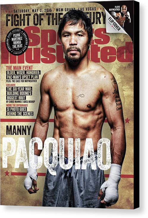 Event Canvas Print featuring the photograph Manny Pacquiao, 2015 Wbawbcwbo Welterweight Title Preview Sports Illustrated Cover by Sports Illustrated
