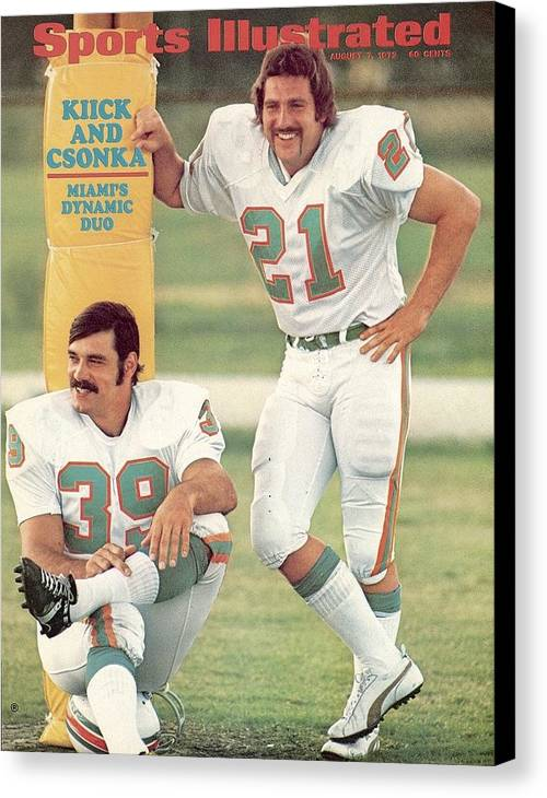 Sports Illustrated Canvas Print featuring the photograph Miami Dolphins Jim Kiick And Larry Csonka Sports Illustrated Cover by Sports Illustrated