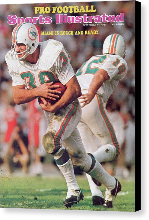California Canvas Print featuring the photograph Miami Dolphins Larry Csonka, Super Bowl Vii Sports Illustrated Cover by Sports Illustrated