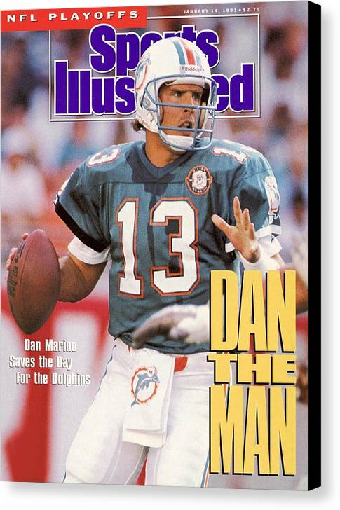Playoffs Canvas Print featuring the photograph Miami Dolphins Qb Dan Marino, 1991 Afc Wild Card Playoffs Sports Illustrated Cover by Sports Illustrated