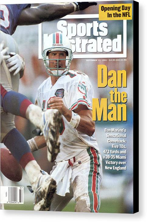 New England Patriots Canvas Print featuring the photograph Miami Dolphins Qb Dan Marino... Sports Illustrated Cover by Sports Illustrated