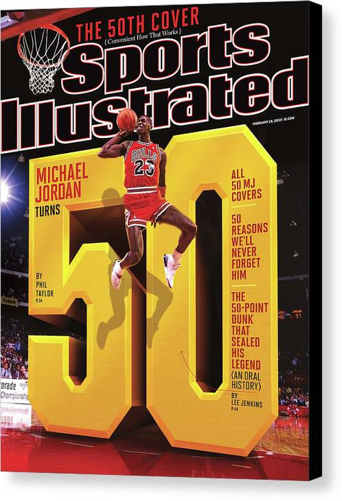 Magazine Cover Canvas Print featuring the photograph Michael Jordan Turns 50 Sports Illustrated Cover by Sports Illustrated