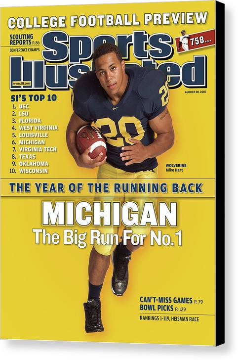 Michigan Canvas Print featuring the photograph Michigan Mike Hart, 2007 College Football Preview Sports Illustrated Cover by Sports Illustrated
