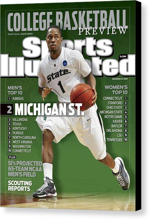 Hubert H. Humphrey Metrodome Canvas Print featuring the photograph Michigan State University Kalin Lucas, 2009 Ncaa Midwest Sports Illustrated Cover by Sports Illustrated