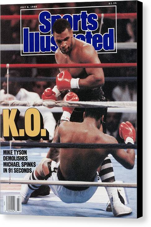 Magazine Cover Canvas Print featuring the photograph Mike Tyson, 1988 Wbcwbaibf Heavyweight Title Sports Illustrated Cover by Sports Illustrated