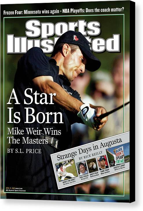 Magazine Cover Canvas Print featuring the photograph Mike Weir, 2003 Masters Sports Illustrated Cover by Sports Illustrated