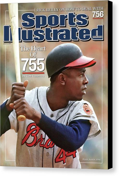 Magazine Cover Canvas Print featuring the photograph Milwaukee Braves Hank Aaron Sports Illustrated Cover by Sports Illustrated
