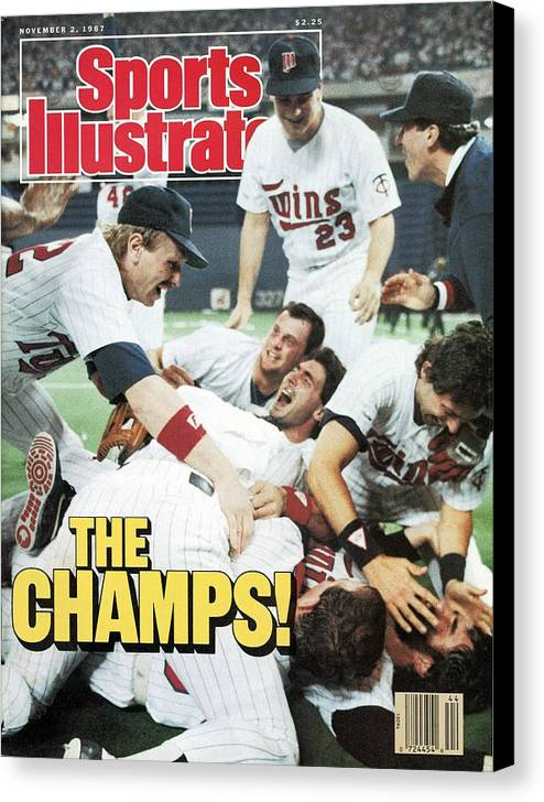 Hubert H. Humphrey Metrodome Canvas Print featuring the photograph Minnesota Twins Dan Gladden, 1987 World Series Sports Illustrated Cover by Sports Illustrated