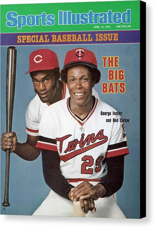 Magazine Cover Canvas Print featuring the photograph Minnesota Twins Rod Carew And Cincinnati Reds George Sports Illustrated Cover by Sports Illustrated