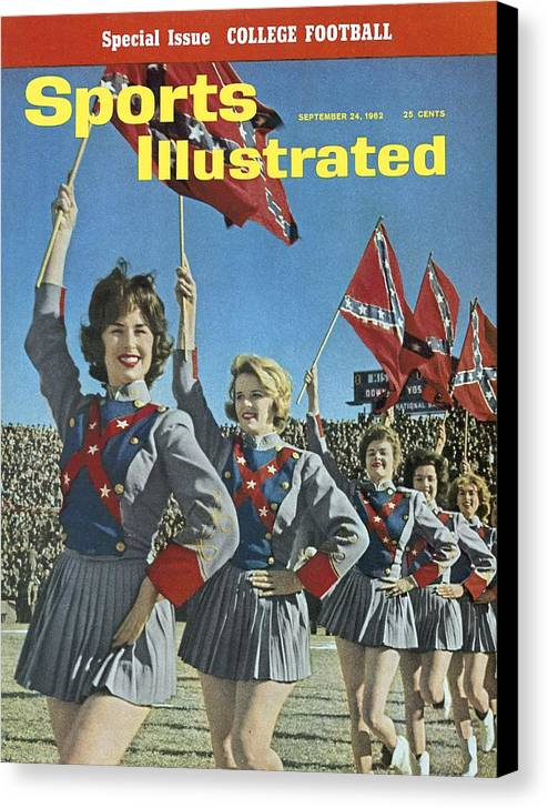 Magazine Cover Canvas Print featuring the photograph Mississippi Cheerleaders, 1962 Cotton Bowl Sports Illustrated Cover by Sports Illustrated