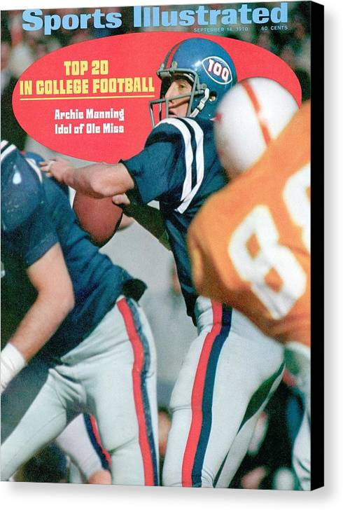 Magazine Cover Canvas Print featuring the photograph Mississippi Qb Archie Manning... Sports Illustrated Cover by Sports Illustrated