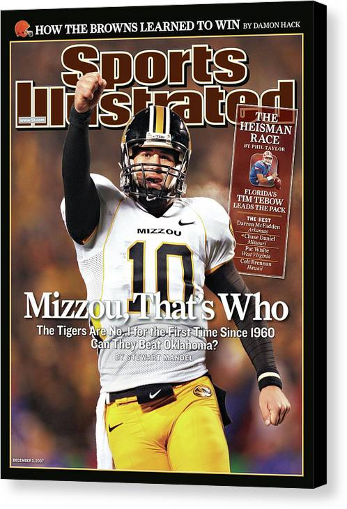 Magazine Cover Canvas Print featuring the photograph Missouri University Qb Chase Daniel by Sports Illustrated Cover