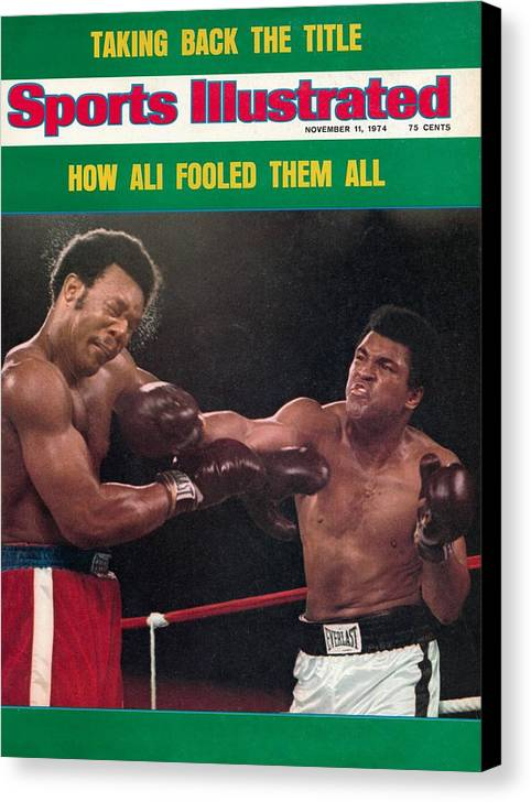 Magazine Cover Canvas Print featuring the photograph Muhammad Ali, 1974 Wbawbc Heavyweight Title Sports Illustrated Cover by Sports Illustrated