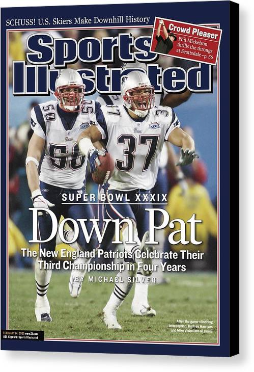 New England Patriots Canvas Print featuring the photograph New England Patriots Rodney Harrison And Mike Vrabel, Super Sports Illustrated Cover by Sports Illustrated