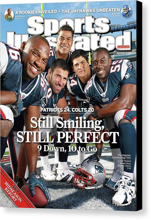 Magazine Cover Canvas Print featuring the photograph New Enlgand Patriots Linebackers Sports Illustrated Cover by Sports Illustrated