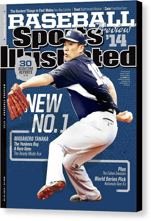 Magazine Cover Canvas Print featuring the photograph New No. 1 2014 Mlb Baseball Preview Issue Sports Illustrated Cover by Sports Illustrated