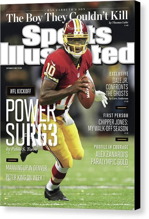 Magazine Cover Canvas Print featuring the photograph New Orleans Saints Vs Washington Redskins Sports Illustrated Cover by Sports Illustrated
