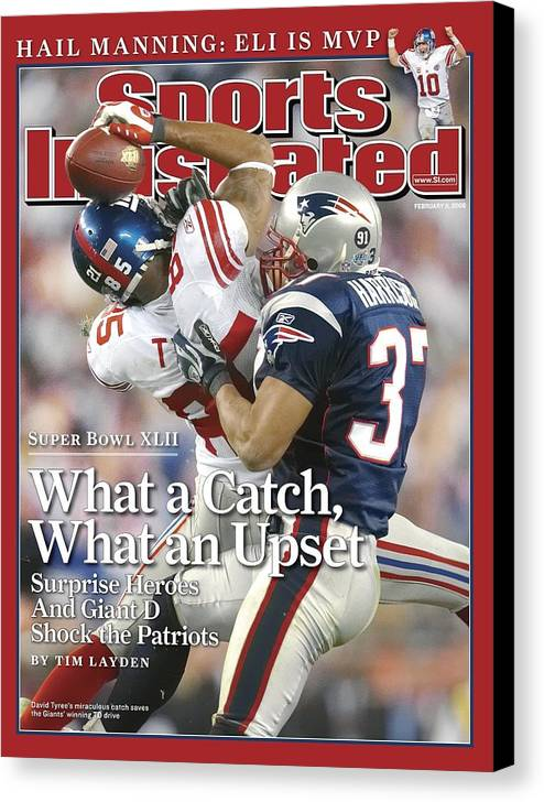 Magazine Cover Canvas Print featuring the photograph New York Giants David Tyree, Super Bowl Xlii Sports Illustrated Cover by Sports Illustrated