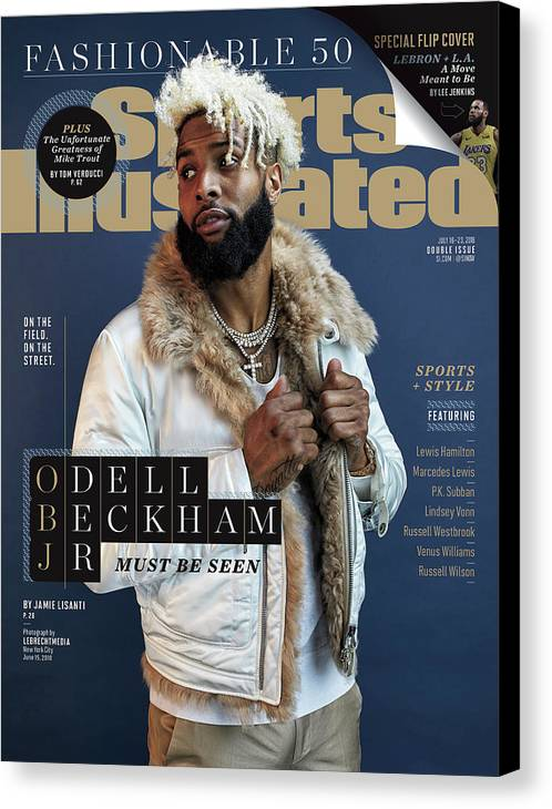 Magazine Cover Canvas Print featuring the photograph New York Giants Odell Beckham Jr., 2018 Fashionable 50 Issue Sports Illustrated Cover by Sports Illustrated